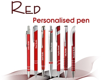 Personalised pen *RED*  black ink * laser engraved with name/logo **gift box ** free UK delivery ** school leavers
