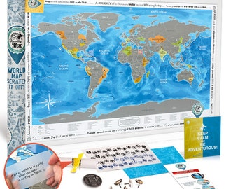 """Scratch off World Poster. Premium Quality. Large Size 24X35"""". US States + Canada Provinces Outlined. Deluxe Gift for Travellers. Scratch off"""