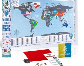 Best Birthday Gift for Her. Unique & Original Birthday Gift for your Girlfriend. Scratch off World Poster with Flags. Present for Her.