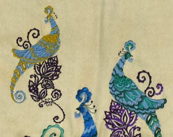 Embroidered Batik Birds of Paradise Wall Hanging