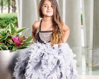 PIPER, feather tutu dress, feather dress, feather skirt, feather tutu, girls birthday dress, flower girl dress, holiday dress