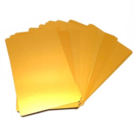 100 Pack Eloxierte Aluminium Visitenkarte Blanks Gold Laser Gravur Leere Metallkarten Cnc 3 4 In X 2 1 In X 0 22 Mm Dicke