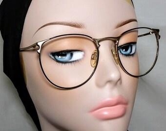Vintage Eyeglass Frame, Cosmopolitan, Black and Gold