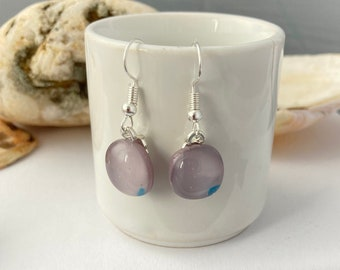 Lilac with blue speckles fused glass hook earrings