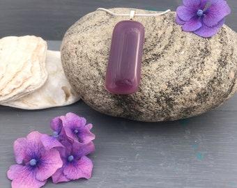 Purple fused glass pendant, rectangle drop pendant necklace, violet, plum, glass jewellery, handmade accessories, gift