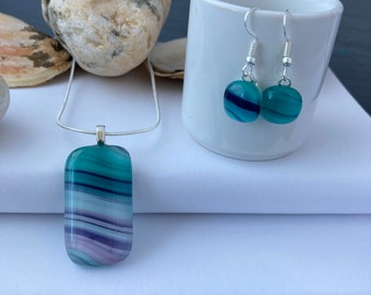 Turquoise, white and purple swirl fused glass pendant and earrings - Multicoloured swirl necklace and earrings
