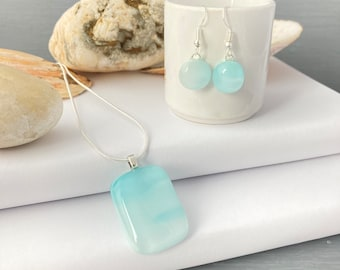 Turquoise and white cloud fused glass pendant and earrings jewellery set