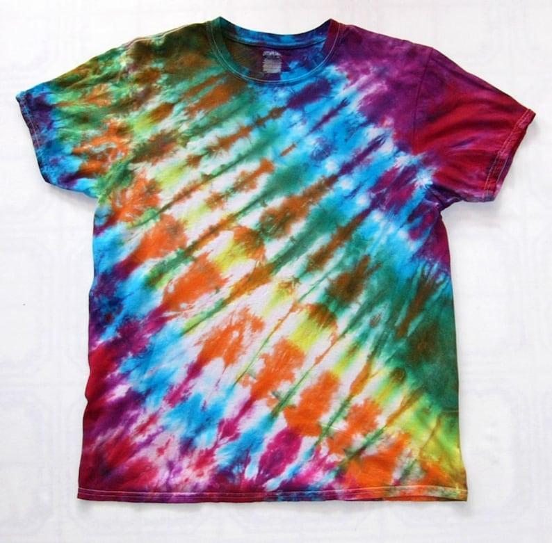 69502944d887 Tie Dye Shirt Diagonal Accordion Fold Handmade Tye Die Cotton