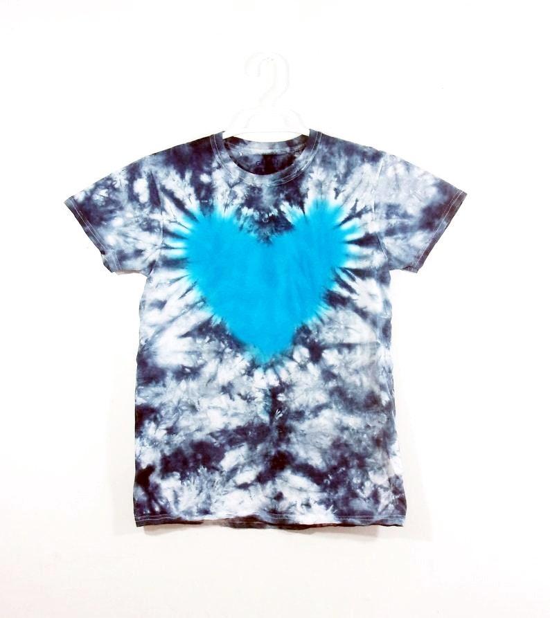 Tie Dye T Shirt Heart Handmade Tye Die Infant Toddler Youth Adult 6 mos 12 mos 18 mos 24 mos 2T 3T 4T 5T 6T XS S M L XL 2XL 3XL 4XL 5XL