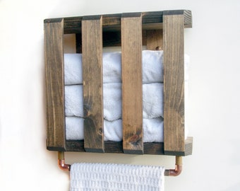 Bathroom Shelf Towels, Shelf With Towel Bar, Farmhouse Shelf With Towel Bar