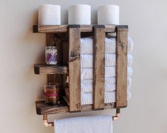 Wood Towel Bar, Shelf Wood, Rustic Shelves