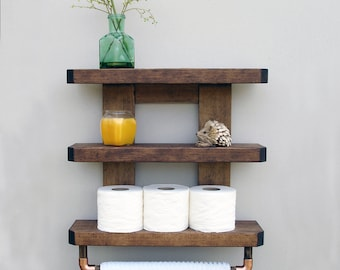 bathroom shelf etsy rh etsy com wooden bathroom shelves with towel bar wooden bathroom shelves over toilet