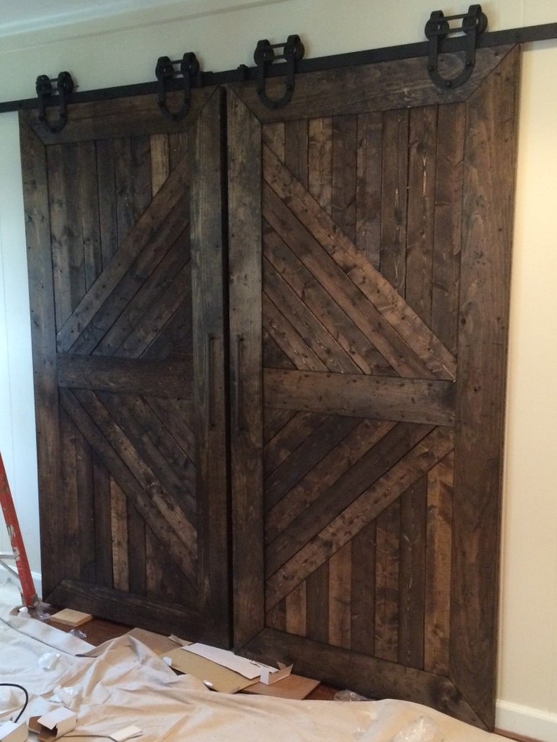 Custom Made Handmade Wooden Interior Rustic Sliding Barn Doors Etsy