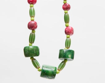 Chunky coral statement necklace bold colors