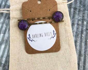 Queen Anne's lace hair pins (purple)