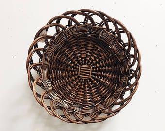 Vintage Coffee Table Tray / Vintage Woven Basket / Vintage Wall Basket / Boho Coffee Table Tray / Boho Basket Bowl