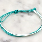 """Cervical  Cancer Waxed Cord Bracelet, Cancer Awareness, Teal and White, Adjustable 5-9"""", Waterproof Bracelet, Cerical Cancer Jewelry, Custom"""