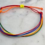 """Rainbow Wax Cord Bracelet   Rainbow Bracelet   Waterproof   5-9"""" Adjustable   LGBT   Pride   Gay Pride   Equality Bracelet   Jewelry"""