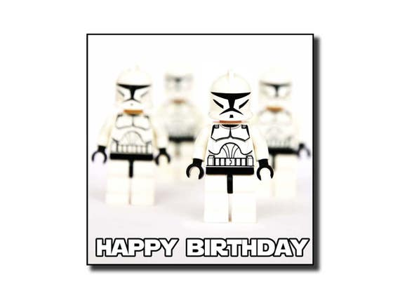 Lego Starwars Clonetrooper Birthday Card Hand Crafted Blank Etsy