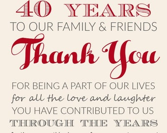Personalized Ruby 40 years anniversary Thank You tags * Digital *