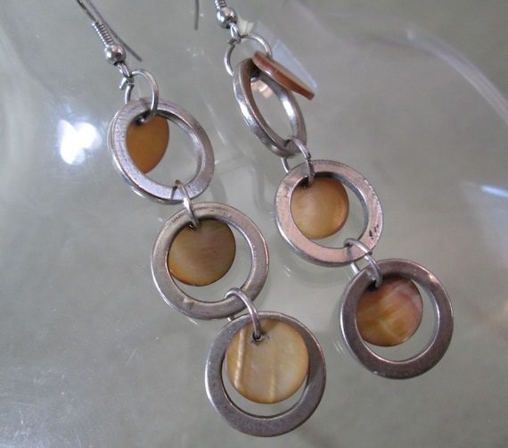 Beach Chic Earrings, Golden Mother of Pearl Disks