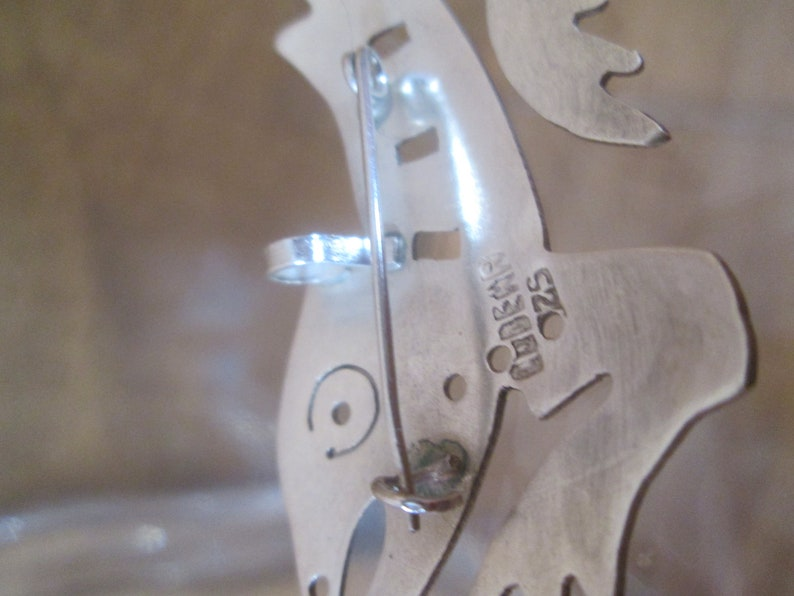 Sterling Silver Brooch AZTEC SALAMANDER Dragon Signed Artisan Made