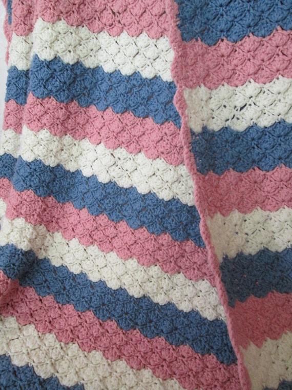 Afghan Werfen Decke Damen Fan Muster Häkeln In Streifen In Etsy
