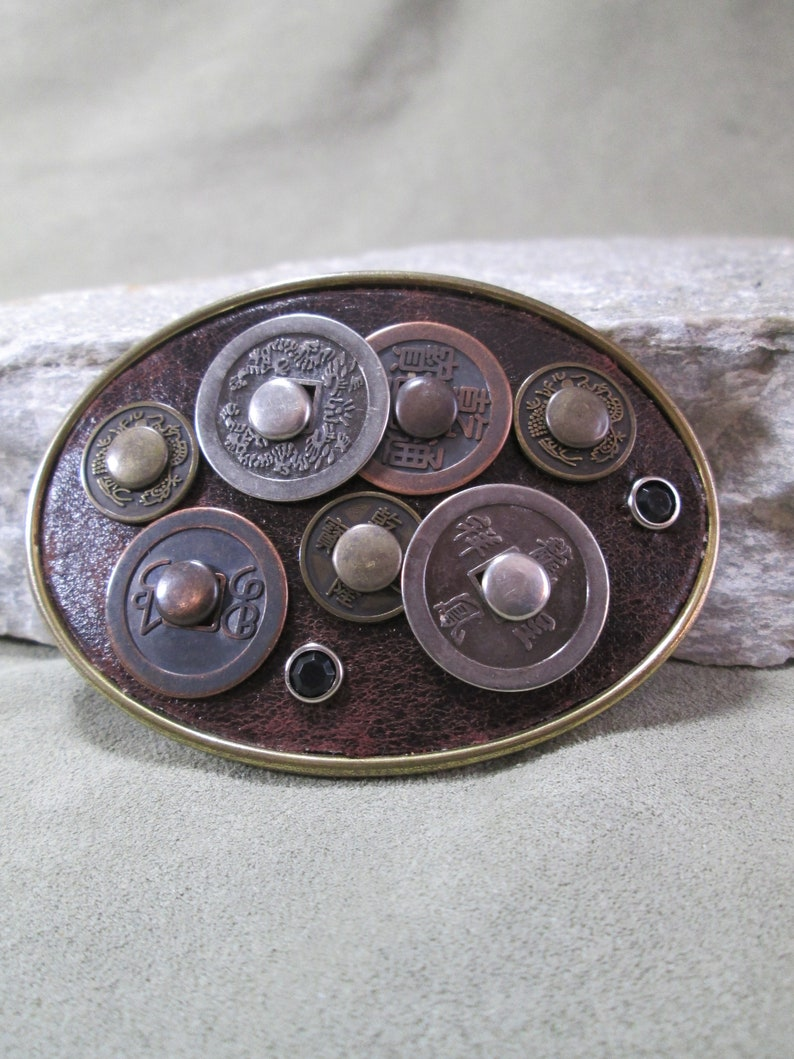 Mixed Metal Belt Buckle CHINOISERIE COINS Steampunk Riveted Brass