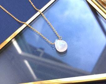 Minimalist Moontone Drop Necklace - Boho Dainty Necklace - Ethnic Chic Necklace