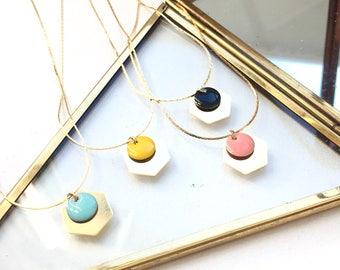 Gold Hexagon and Enameled Disc Necklace - Turquoise, Pink, Yellow, Black Enamel Necklace - Boho Necklace - Ingrid Necklace
