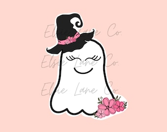 Witchy Ghost Pink Flowers Sticker // Scrapbooking // The Happy Planner //