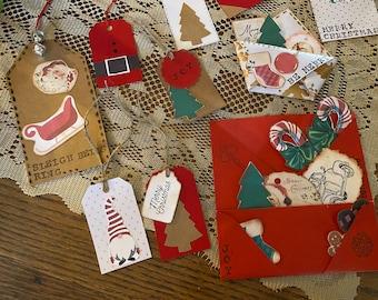 30 Piece Junk Journal Sampler // Christmas // Scrapbook // Junk Journal Tuck Ins // Empherma // Cards // Gift Tags // Collage Kit //