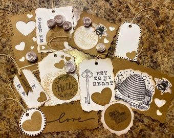 11 Piece Junk Journal Sampler // Scrapbook // Junk Journal Tuck Ins // Empherma // Cards // Rustic // Collage Kit // Gift Tags