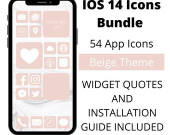 App Icons IOS 14 // Beige Icons // 54 Icons // Widgets