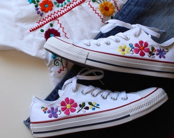 8723df21e49 Hand embroidered custom converse embroidered flowers embroidered shoes