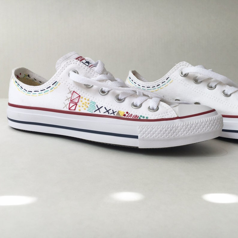 232becaca710 Embroidered converse with geometric design shoes included
