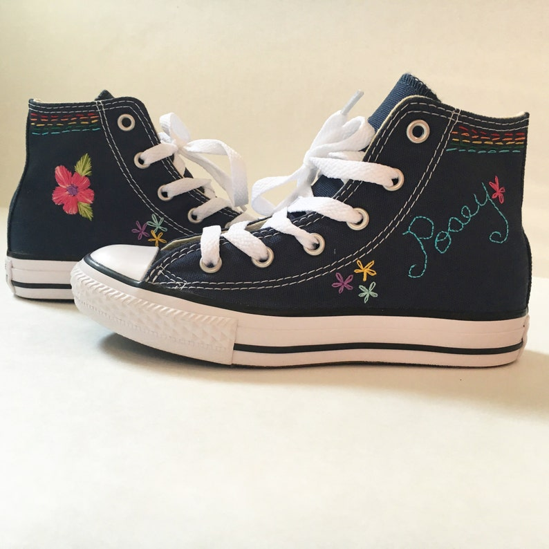 9a7c96b94836 Hand embroidered converse canvas shoes with name and floral or