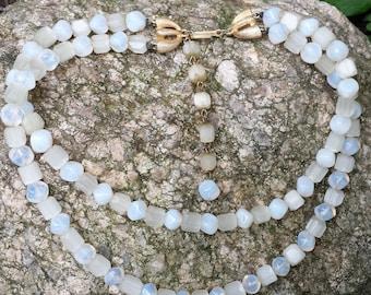 Vintage Opalite Bead Necklace Two Strand Trifari