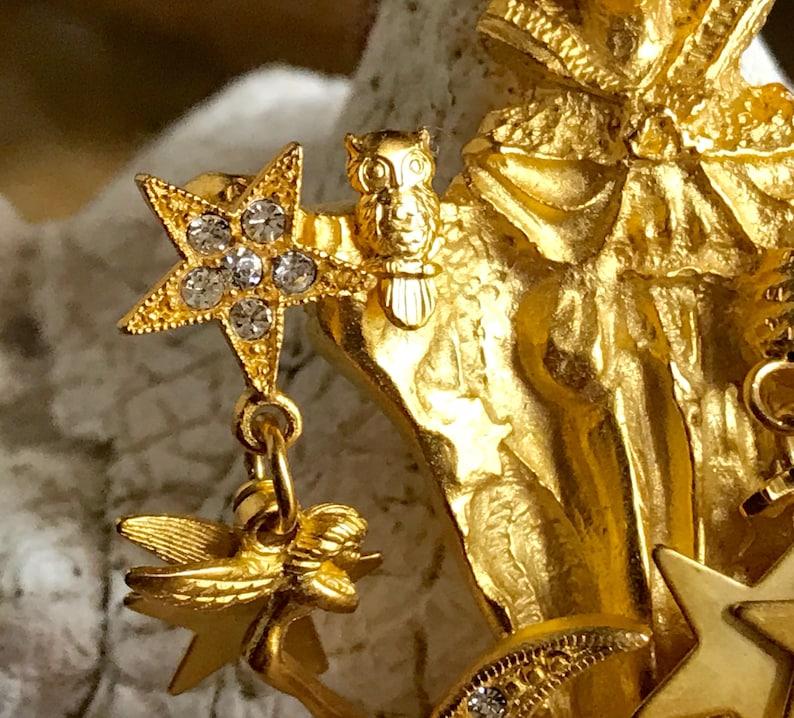 Kirks Folly Wizard Brooch Pendant Pin Fairies Moon Stars