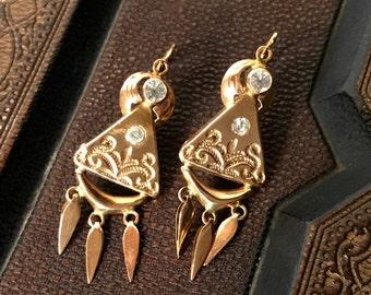 Vintage 18k Chandelier Earrings Portuguese Gold  Dangle Earrings 19K