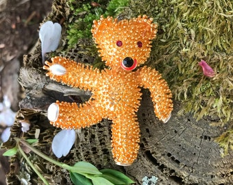 JBK Gold Plated Teddy Bear Pin Jackie Kennedy Bear Pin