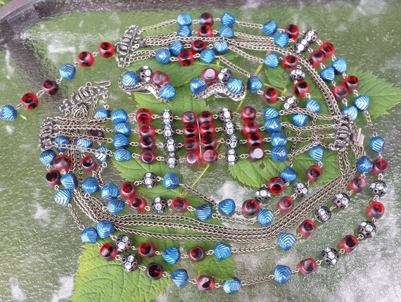 Vintage Hobe Red and Blue Parure signed Hobe