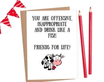 Funny Friend Card Joke Best Friendship Birthday