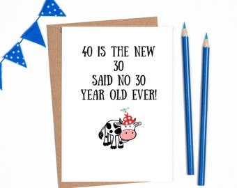 Funny 40th Birthday For Her Him Women Men Joke Card