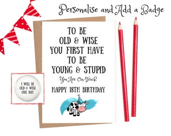 Funny 18th Birthday Card Personalised For Her