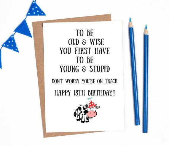 18 Birthday Card 18th Birthday Card Funny 18th Card Funny Etsy