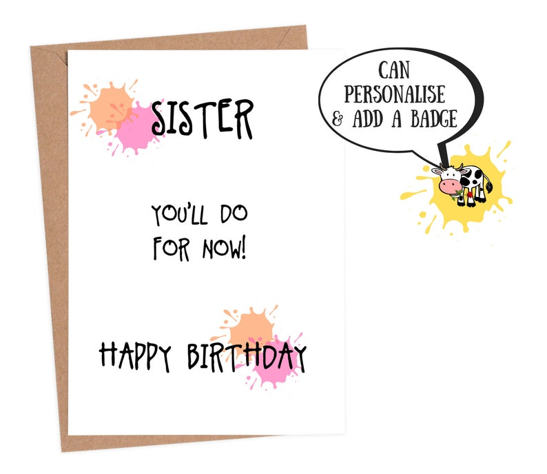 Funny Birthday Card Sister