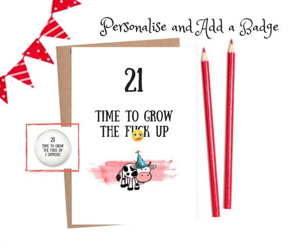 Funny 21 Birthday 21st Funny Birthday Card 21st Birthday Etsy