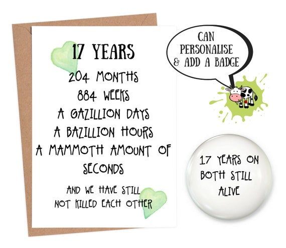 17 years down forever to go 17th anniversary card wedding valentines day
