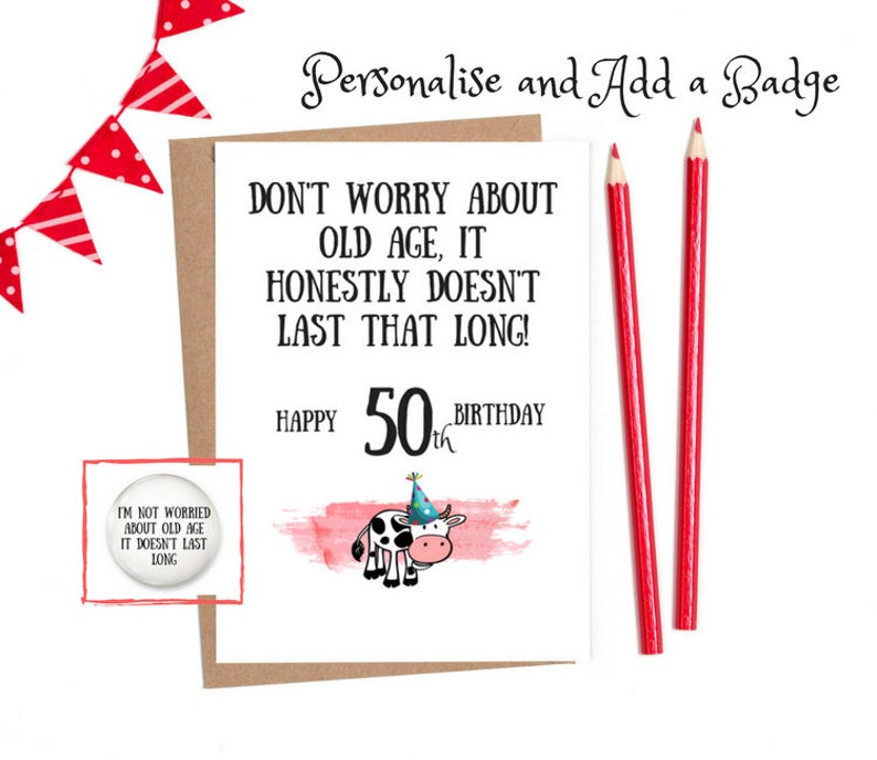 50th Birthday Card Funny Cards Personaliseed Rude